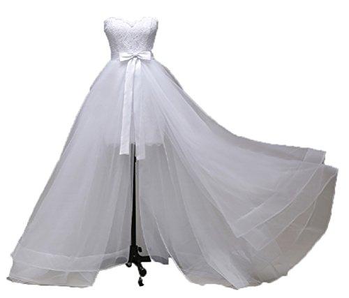 Unbekannt Asymmetrisches Brautkleid Strandhochzeit Strandkleid Strand Hochzeitskleid NEU 34 36 38 40 XS S M L Braut Kleid (38, Ivory)