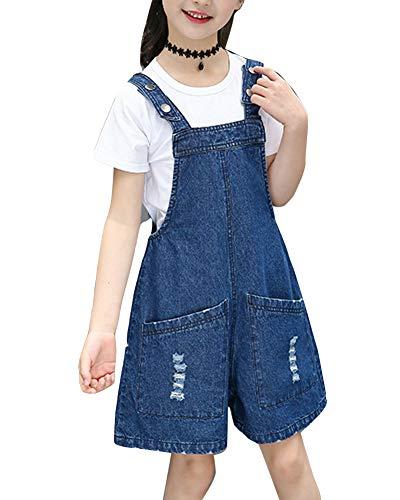 Kinder Mädchen Latzhose Kurze Hose Denim Jeans Overall Alles In Einem Jumpsuit Playsuit + Kurze Ärmel T-Shirts Blau 130CM