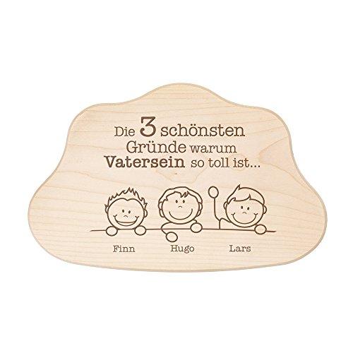 Crazy Kitchen – Wolkenbrett aus Holz mit Gravur – Die schönsten Gründe Warum Vatersein Toll ist – Schneidebrett – Personalisiert mit Namen – Vatertagsgeschenk – Geschenke für Männer