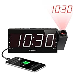 Mesqool Projection Alarm Clock for Bedroom - AM FM Radio & Sleep Timer, 180° Projector, 7 Large Digital LED Display&Dimmer, Dual Alarms, USB Charger, Battery Backup Desk Wall Ceiling Plug -in Clock