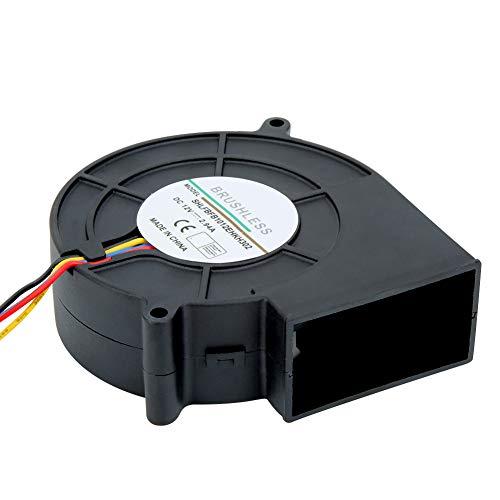 Haofy Ventilatore Senza spazzole CC con Ventola Radiale 12V, Ventilatore centrifugo con Doppio Cuscinetto a Sfera di Raffreddamento Ventilatore centrifugo con 4 Pin, 97 * 94 * 33mm