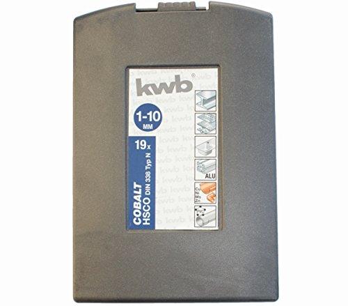 KWB 19piezas Juego de brocas 1–10mm, metal, cobalto Hsco DIN 338tipo N...