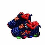Flash Zapatos de algodón para niños y niñas, zapatos de correr con destello de malla (tamaño: 29EU, color: azul)