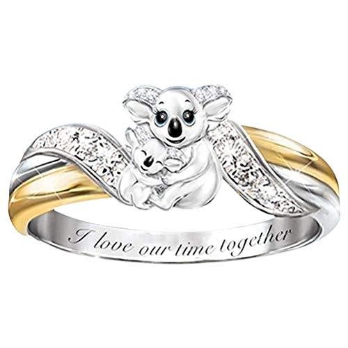 "WINBST Anillo de aleación bicolor para mujer, anillo de koalas con texto ""I Love Our Time Together"", regalo para el Día de la Madre"