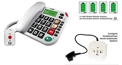 Senioren Festnetztelefon mit SOS Funkfernbedienung von G-TELWARE®in DEUTSCH/HÖRGERÄTE-tauglich/ 4 Batterien/TAE/NFF Adapter/ 2 Jahre GARANTIE!