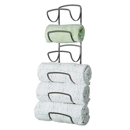 mDesign Modern Decorative Six Level Bathroom Towel Rack Holder & Organizer, Wall Mount - for Storage of Bath Towels, Washcloths, Hand Towels - Graphite Gray