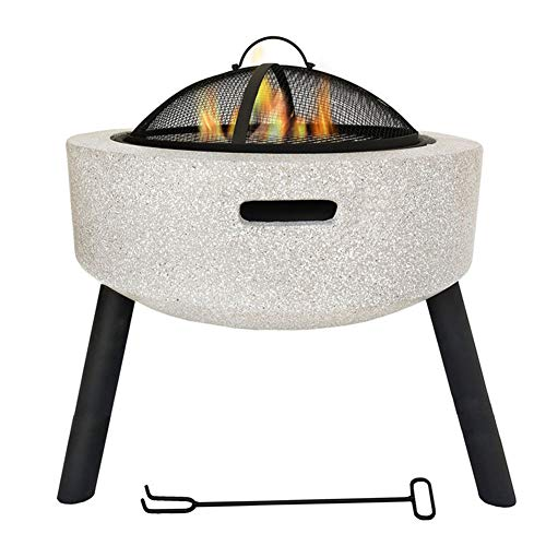 Best Price HLeoz Geo Fire Pit Bowl, Fire Pit with BBQ Grill Shelf Triangle Bracket Magnesium Oxide M...