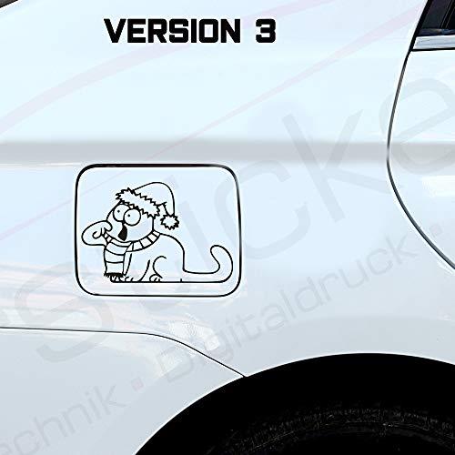 MS Car Sticker Lustige Katze Aufkleber in 3 versch. Versionen - Katze mit Spinne - Katze mit Mütze - Kleine und Große Katze- (02 weiß, Version 3)