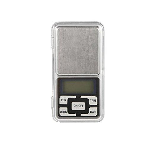 Escala de Peso de Bolsillo de joyería LCD electrónica Digital de Acero Inoxidable de 500 g 0,1 g (Plata)