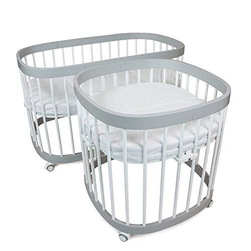 TWEETO - Lit multifonction 7 en 1 avec matelas - Pour bébé et enfant (2 Matelas en LATEX-COCO: 70x70 + 70x120)