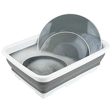 Home Basics Collapsible Silicone & Plastic Multi use - Wash Bin, Portable Washing Basin, Dishpan, Dish Tub, Ice Bucket for Indoor or Outdoor Use, Foldable Space Saving Plastic Washtub (Grey/White)