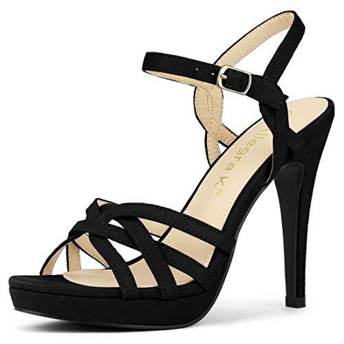 Allegra K Women's Strappy Platform Heels Black Stiletto Heel Sandals - 8 M US