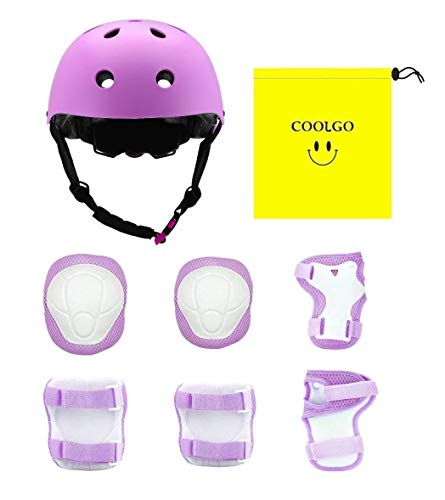 COOLGO Kinder Helm Inliner Protektoren Set, Skateboard Helm mit Schutzausrüstung Knie-Ellbogen-Handgelenk Schoner Set für Inliner Skaten Roller Skateboard Geeignet für Kinder 15-35 kg (Purple)