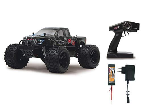 Jamara Skull Monstertruck 1:10 4WD Lipo 2,4GHz - spritzwassergeschützt, Differential / Welle / Achse aus Stahl, Öldruckdämpfer, schmutzgeschütz und gekapseltes Getriebe, kräftiges Lenkservo
