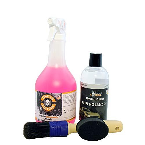 Limpiador de llantas sin ácidos con indicador de acción + pincel para llantas + gel de neumáticos + aplicador.