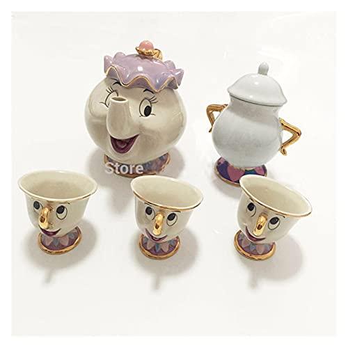 XINXIN Nueva Belleza de Dibujos Animados y la Taza de la Tetera de la Bestia Mrs Potts Chip Cogsworth Reloj de té de la Taza de la Taza de la Taza One Set Precioso Regalo Post rápido JX (Color : 6)