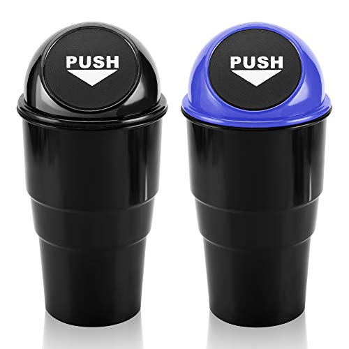 Car Trash Can with lid and Garbage Bag Set, Accmor Vehicle Cup Holder Trash Bin Auto Dustbin Garbage Organizer Storage, 2 Pack Black Mini Garbage Bin Container for Cars, Home, Office