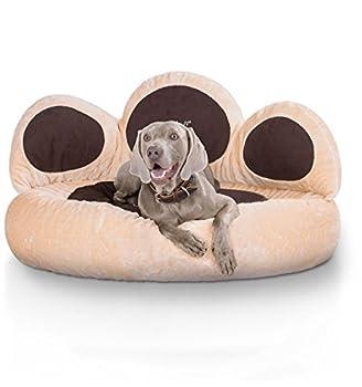 Knuffelwuff panier chien - lit pour chien - coussin - corbeille pour chien Luena - forme de patte - beige S-M 80cm