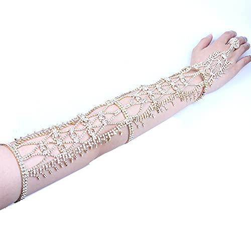 zhongbao Pulsera de dedo de lujo con diamantes de imitación para mujer, joyería corporal, cristal para novia, cadena de dedo largo (color de metal: borla plateada)