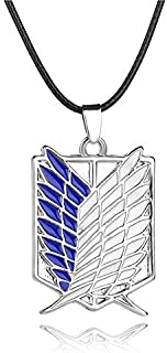 قلادة بنمط شعار الجناح لمسلسل الانيمي اتاك اون تايتان للرجال، لون ازرق وفضي