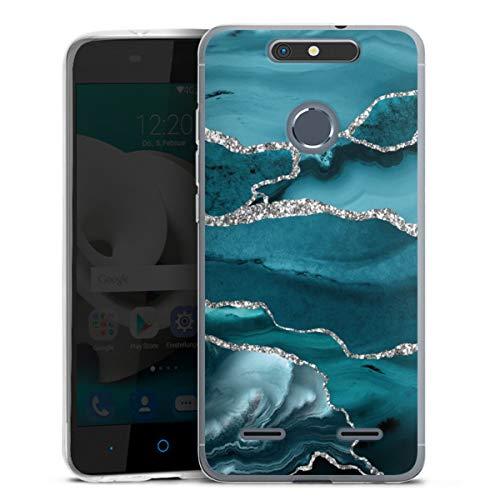 DeinDesign Silikon Hülle kompatibel mit ZTE Blade V8 lite Hülle transparent Handyhülle Marmor Blau Glitzer Erscheinungsbild