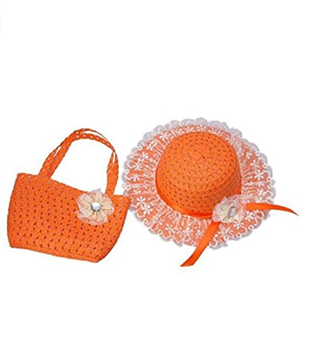 Jiuhexu Kids Straw Sun Hat Handbag Sets Children Beach Caps Prop Outfit 9Colors (Orange)