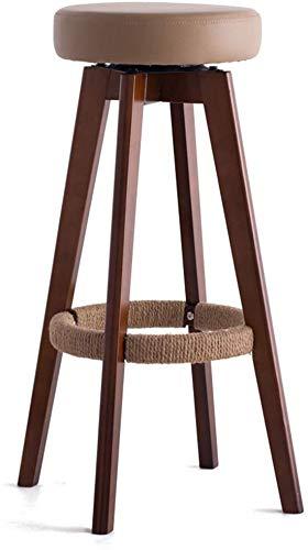 ZHFZD houten draaistoel, ronde Reck keukenkruk in Scandinavische minimalistische stijl, bruin (kleur: # 1, grootte: 45 cm x 45 cm x 65 cm) 48cm*48cm*74cm #2