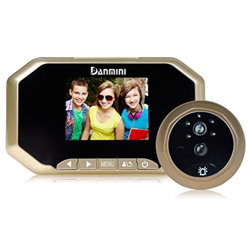 Danmini Türspion Kamera Video Türklingel, Bewegungserkennung, Automatisches Foto, Infrarot-Nachtsicht, Gold