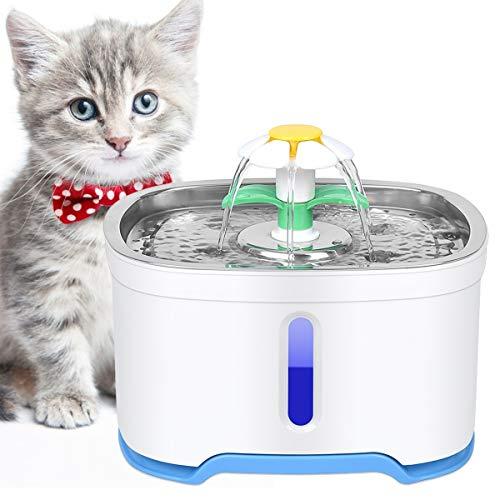 OGIMA Fontanella per animali domestici - Dispenser d'acqua da 2,5 L con pompa intelligente e sistema di filtraggio - Con indicatore del livello dell'acqua