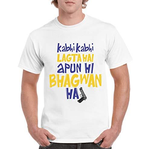 COVOZO Polyster Dry Kabhi Kabhi Lagta Hai Apun Hi Bhagwan H Men's White Graphic Printed T-Shirt/Round Neck/Half Sleeve/ 100% Polyster