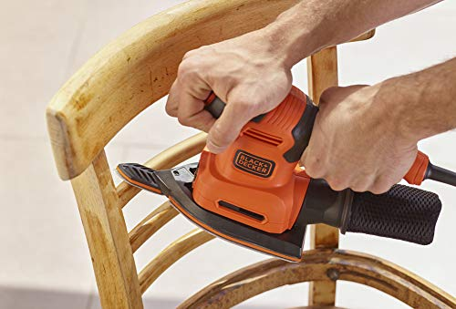 BLACK+DECKER 200 W 4 in 1 Electric Sander, Random, Iron Shaped Orbital Base, Finger Sanding Attachment and Sanding Sheets, BEW200-GB