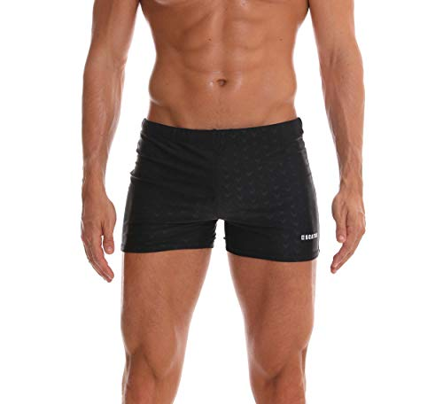 SALENT Men's Swim Trunks Shorts Athletic Swimwear Briefs Boardshorts (XXXL, Black)