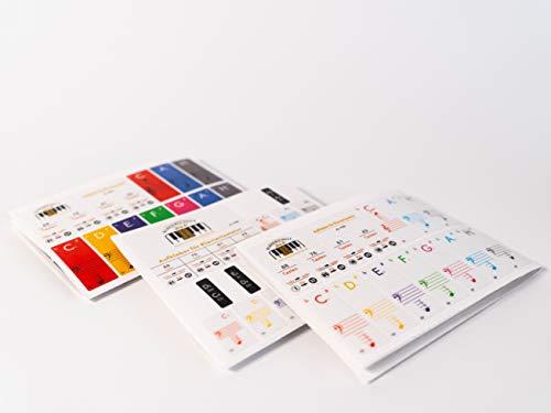 Premium Aufkleber [3er-Set] für Klaviertasten | Klavier Aufkleber/Keyboard Aufkleber auf deutsch inkl. Anleitung + E-Book | für 49/61 / 76/88 Tasten