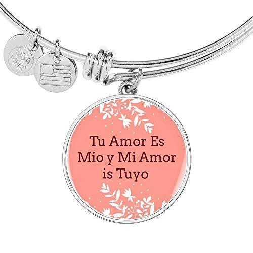 Pulsera de acero inoxidable dorado de 18 quilates, diseño con texto en inglés «Tu Amor ES Mio y Mi Amor is Tuyo Circle Bangle