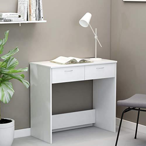 UnfadeMemory Mesa de Escritorio con 2 Cajones,Mesa de Oficina,Mesa de Ordenador,Madera Aglomerado,80x40x75cm (Blanco)