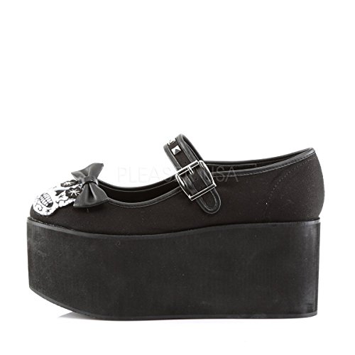 Womens Mary Jane Shoe Black Canvas Skull Shoes Studs Bow 3 1/4 Inch Platform Size: 11