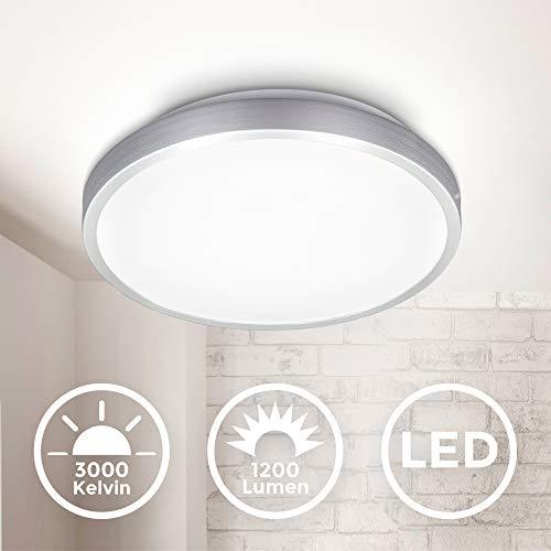 B.K.Licht LED Deckenleuchte I Deckenlampe I Titan Optik I inkl. 12W LED Platine I 1200lm I 3000K warmweiße Lichtfarbe I IP20 I Ø288mm