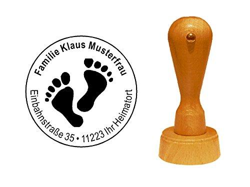 Stempel Holzstempel Adressstempel « PEDIKÜRE » Durchmesser ca. Ø 40 mm - mit persönlicher Adresse und Motiv - Fuß Fußpflege Fußpflegesalon