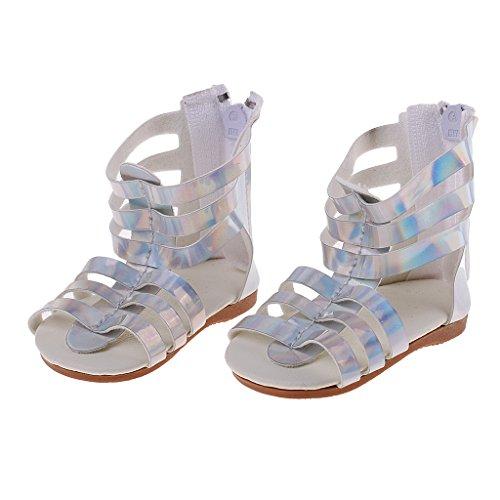 D DOLITY Puppenschuhe Sommer Römische Sandalen Für 18 '' Puppe Kleidung Zubehör - Silber