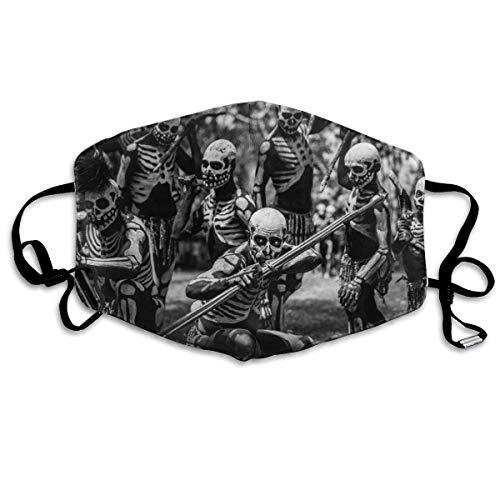 Face Scarf Tribal Papua Neuguinea Schädel Camping Männer Radfahren Verstellbar Bedruckt Unisex Staubverschmutzungsmaske Frauen Staubdichte Polyester Neutrale Gesichtsmaske Atmungs