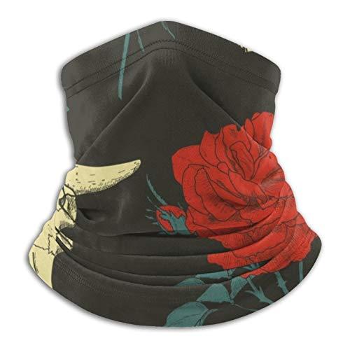Hermosa rosa roja y calavera con cabeza de animal bufandas cálidas unisex pañuelos para la cabeza Gorros multifuncionales para toallas faciales elásticas bufandas lavables de 10x11.6 Pulgadas
