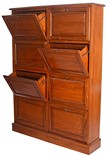 Skoskåp mahogny skokipper massivt trä skobyrå 8 klaffar 175 cm hall skåp Mar206 Palazzo exklusiv