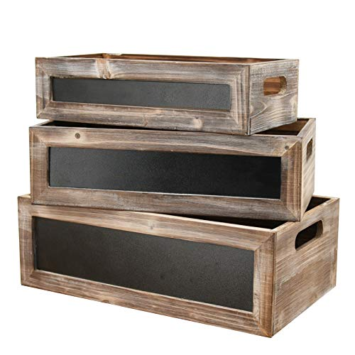 Vintage Brown Wood Nesting Storage Crates with Chalkboard and Cutout Handles,Rectangular Wooden Crates for Storage Set of 3-14.2'/13'/11.8'