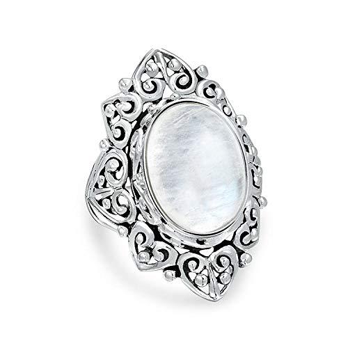 Filigranen Oval Regenbogen Natürliche Edelstein Mode Statement Voller Finger Mondstein Ringe Band Sterling Silber
