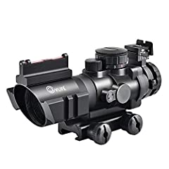 Magnification power: 4x ,Objective lens: 32mm, Field of view(feet/100 yards): 36.6, Length(inches): 5.5 High performance optical scope with fiber optic sight for quick and accurate acquisition Crisp image for accurate shooting. With the green multi-l...