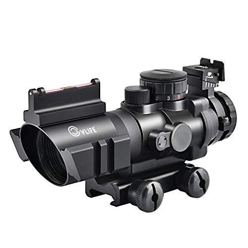 CVLIFE 4x32 Tactical Rifle Scope Red & Green &Blue Illuminated Reticle Scope with Fiber Optic Sight