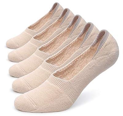 Pareberry Women's Thick Cushion Cotton Athletics Casual Low Cut Flat Non-Slip Boat Liner No Show Socks-5/10 Pack (Women's Shoe Size(9-11.5), Beige)