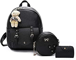 ZSmart Stylish Small backpack and sling bag set for ladies, school or college girl's combo of 3 ( Black, 5L)