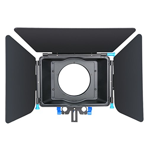 Annsm Matte Box with Aluminum Alloy Material for 15mm Standard Rail Rods for Canon Sony Panasonic Nikon Fujifilm Olympus Cameras Camcorder Lenses Diameter Less Than 100mm with 4 Poron Donut Rings