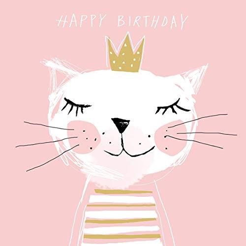 CasaJame Servietten (2er Set / 40Stück) 3-lagig 33x33cm Happy Birthday Geburtstag Katze Prinzessin